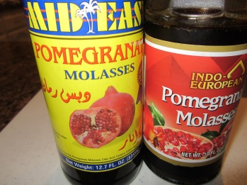 Pomegranate molasses, sometimes called pomegranate syrup, is available in most Middle Eastern and health food stores. It has the color and consistency of molasses but is simply reduced pomegranate juice.