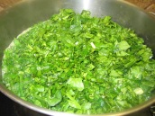 Bring 16 cups of water to a boil in a large pot. Add herbs, cook for 5 minutes.