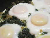 Cover, cook for about 5 minutes or until egg whites are set but yolks are still soft.