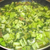 Add the mixture of parsley and mint, celery and lemon juice or dried limes. Cook over low heat for 1 hour or until the meat and celery are tender. Adjust seasoning to taste.