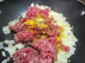 Add ground beef, salt, pepper and turmeric. Cook until juices evaporate, about 5 minutes.