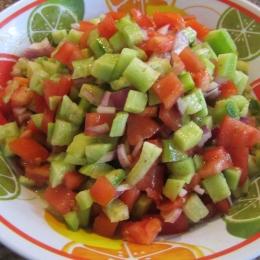 Whisk together olive oil, lemon juice, salt and pepper; pour over salad, mix to combine.