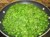 Place all the herbs in a large nonstick frying pan. Add 1/3 cup oil.