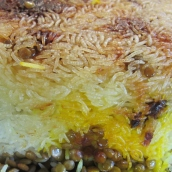 The bottom of the rice develops a crisp crust that you can serve on a separate plate.