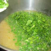 When barley is tender, add the herbs and stir.