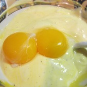 In a medium bowl, dissolve ¼ teaspoon saffron in 1 tablespoon hot water. Add 1 cup yogurt and 2 egg yolks.