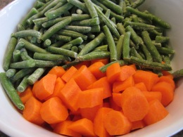 Frozen beans and fresh carrots.