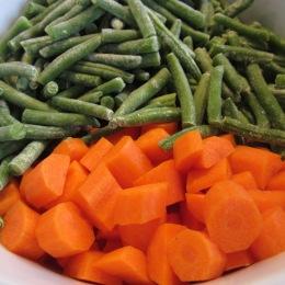 Frozen beans and fresh carrots.