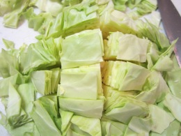 Cut slices into 1- inch pieces.