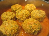 Don't overcrowd the pan. The meatballs expand as they cook. Lower the heat to medium-low. Cover and cook for 1 hour.
