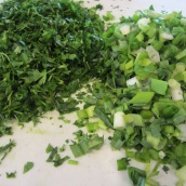 Clean and chop the fresh herbs.