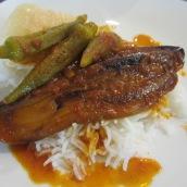 Vegetarian Khoresht Bamieh Bademjan (Vegetarian Eggplant Stew with Okra)