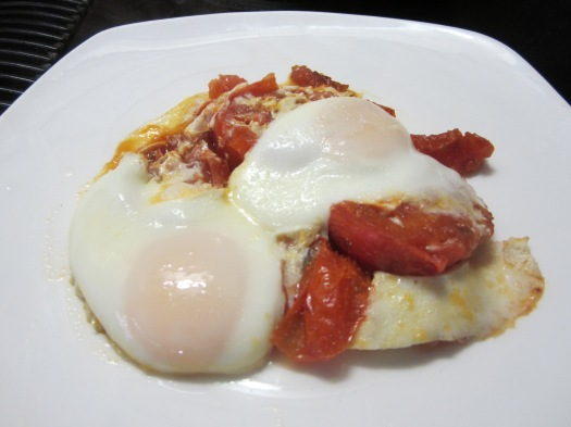 Eggs Over Fried Tomatoes