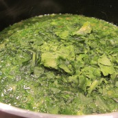 Add fresh herbs, frozen spinach and dried fenugreek. Cook for 10 minutes.