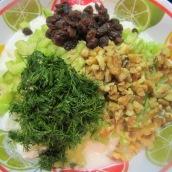 Chop cucumber, walnuts and fresh dill.