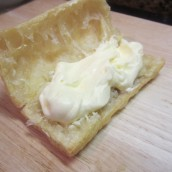 Cut each pastry in half; fill with two tablespoons of the filling mixture.
