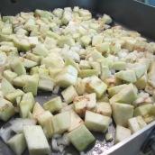 Roast eggplants, onions and garlic.